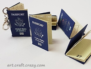 Miniature passport charm for travelers notebook
