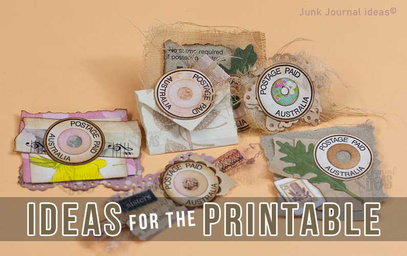 faux round postage stamps junk journal ideas